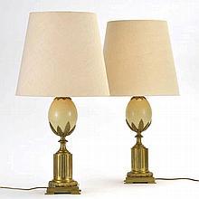 Dans le goût de la maison Charles Paire de lampes aeuf bronze et tôle laquée