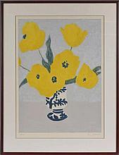 Pierre Boncompain (1938) Vase de fleur estampe en couleur numérotée 63/150,
