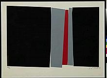 Jean Baier (1932-1999)  Composition en noir, gris et rouge  Estampe 96/100,
