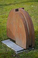 Goulven (1949) borne, 1991 métal oxydé 70x74x21cm