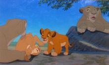 Walt Disney, The Lion King Three Production Cel Set-up Simba, Nala, Sarafina, and Sarabi