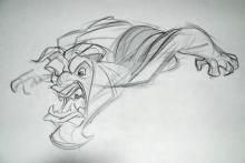Walt Disney, Beauty and the Beast Production Drawing The Beast