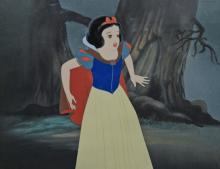 Walt Disney, Snow White Production Cel on preliminary production background Snow White