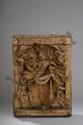 Haut relief de charriot processionnel illustrant Vishnu tenant des attributs tantriques . Bois de teck. Inde du Sud. Tamil Nadu. 17 ème siècle. 51 cm.