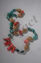 Collier ethnographique recomposé selon la tradition de perles de corail, turquoises, agate et métal argenté. Ladakh.