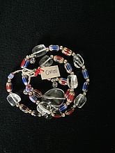 Collier recomposé selon la tradition de perles de cristal de roche, pate de verre de Venise et métal argenté.  Tribu Banjarat.  Inde.