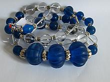 Collier ethnographique recomposé selon la tradition de perles de cristal de roche, métal argenté et pate de verre. Inde.