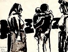 JOSEF HERMAN Hand Signed Ink Drawing 1979 British Art Polish Jewish