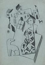 BELA KADAR Original Drawing Hungarian Cubism 1920's