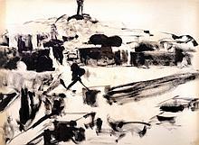 AVIGDOR ARIKHA Signed Large Drawing 1966 Israeli Jerusalem
