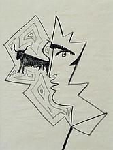 JEAN COCTEAU Signed Drawing 1962 Bull