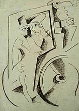 BELA KADAR  Charcoal Drawing Hungarian Art 1920 Cubism