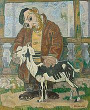 ARTHUR KOLNIK Signed Oil Painting Jewish Judaica Ukrainian Russian Art 1920