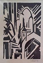 WALTER DEXEL H.Signed Woodcut 1916 German Constructivism