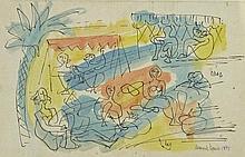 MARCEL JANCO Signed Watercolour Dada 1942 Rumanian Israeli