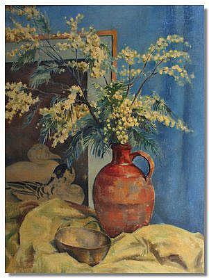Frank Potter, Still Life of flowers in a jug, oil