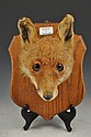 Taxidermy: Fox mask trophy, oak shield plaque,