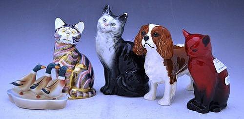 Royal Doulton flambe figure of a cat, signed Moke,