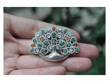 Silver gilt brooch inlaid jade peacock