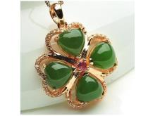 Clover silver inlaid jade pendant