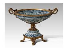 Porcelain inlaid copper tall compote