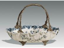 Porcelain inlaid copper basket