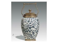 Blue and white inlaid copper pot mention
