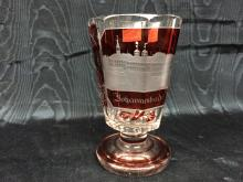 Red Bohemian glass goblet