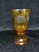 Yellow Bohemian glass goblet