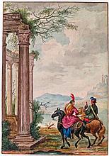 École italienne - 1 dessin, 1 aquarelle et 4 gravu