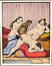 Erotica - 4 gravures LIBRES, 19e s. (1). 2 lith