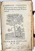 Philologie - CALEPINO, Ambrogio.- Dictionarium, qu