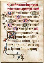 - 3 ff. en latin : 2 extraits d'un livre d'heure e