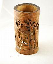 19th Century Bamboo Figure Brush Pot $500