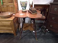 Lotus shaped 19thc. Side table with twisted legs and claw feet with glass balls
