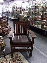 Atrib to Stickley Mission Oak Arm Chair Tagged H.S. Barney original EVERYTHING!
