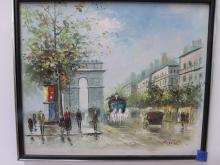 Signed oil on canvas of a Paris Street Scene