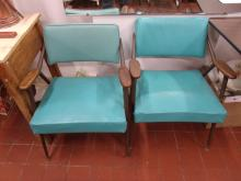 Pair of Mid-Century Swing Back Teal Chairs!