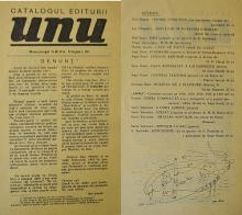 Catalogul editurii UNU / UNU publisher's catalog