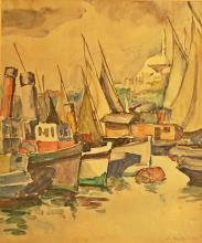 BRATE? PILLAT MARIA ( 1892-1975 ) Bãrci în port / Boats in the harbor