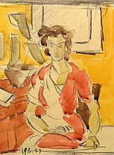 CATARGI HENRI H. ( 1894-1976 ) Femeie în ro?u - Women in red