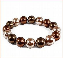 Shell Pearl Stretch Bracelet - Multi-color (Chocolate) (12 mm)