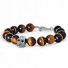 Silver Bracelet W/Tiger Eye,,8.5 inches,925 Silver, Tiger Eye