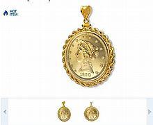 $2.50 Liberty Gold Quarter Eagle Pendant (Rope-ScrewTop Bezel)