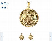 $20 St. Gaudens Gold Double Eagle Pendant(Diamond-ScrewTop Bezel)