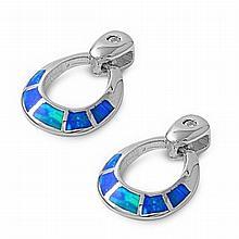 Silver Earrings W/Lab Opal,19mm,Blue Lab Opal,925 Silver