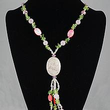 Mixed  Colored Agate & Crystal Bead Necklace 56.90 grams