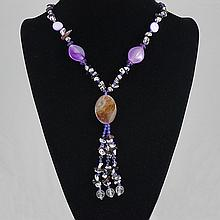 Fashion Jewelry Agate Multi Glass Bead Necklace 59.20 grams