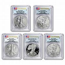 2011 (5 Coin) Silver Eagle Set MS/PR-70 PCGS 25th Anniv (FS) BL