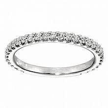 18KT WHITE GOLD DIAMOND WEDDING BAND WITH SIZING BAR (0.58CTS TW)